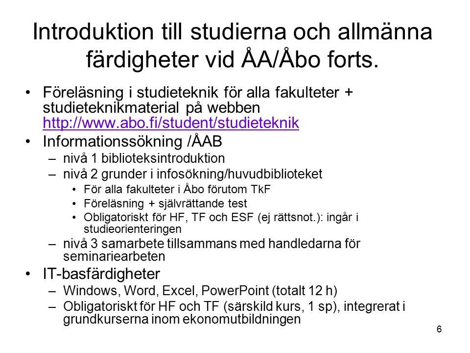 6 Introduktion till studierna och allmänna färdigheter vid ÅA/Åbo forts.