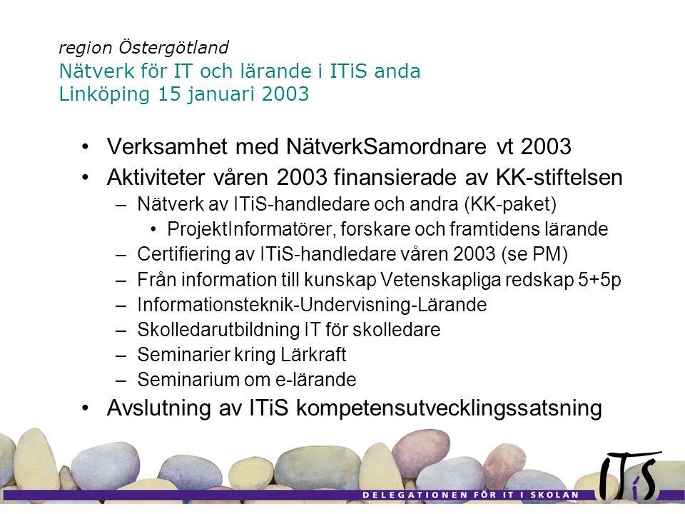 region Östergötland Nätverk för IT och lärande i ITiS anda Linköping 15 januari 2003 Verksamhet med NätverkSamordnare vt 2003 Aktiviteter våren 2003 finansierade av KK-stiftelsen –Nätverk av ITiS-handledare och andra (KK-paket) ProjektInformatörer, forskare och framtidens lärande –Certifiering av ITiS-handledare våren 2003 (se PM) –Från information till kunskap Vetenskapliga redskap 5+5p –Informationsteknik-Undervisning-Lärande –Skolledarutbildning IT för skolledare –Seminarier kring Lärkraft –Seminarium om e-lärande Avslutning av ITiS kompetensutvecklingssatsning