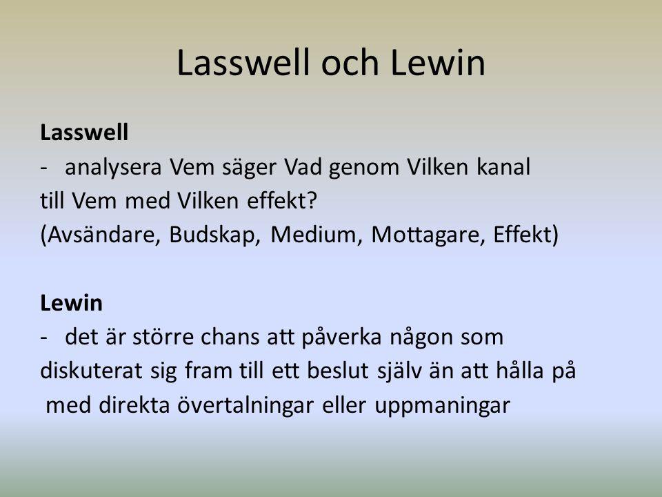 Lasswell och Lewin Lasswell -analysera Vem säger Vad genom Vilken kanal till Vem med Vilken effekt? (Avsändare, Budskap, Medium, Mottagare, Effekt) Le