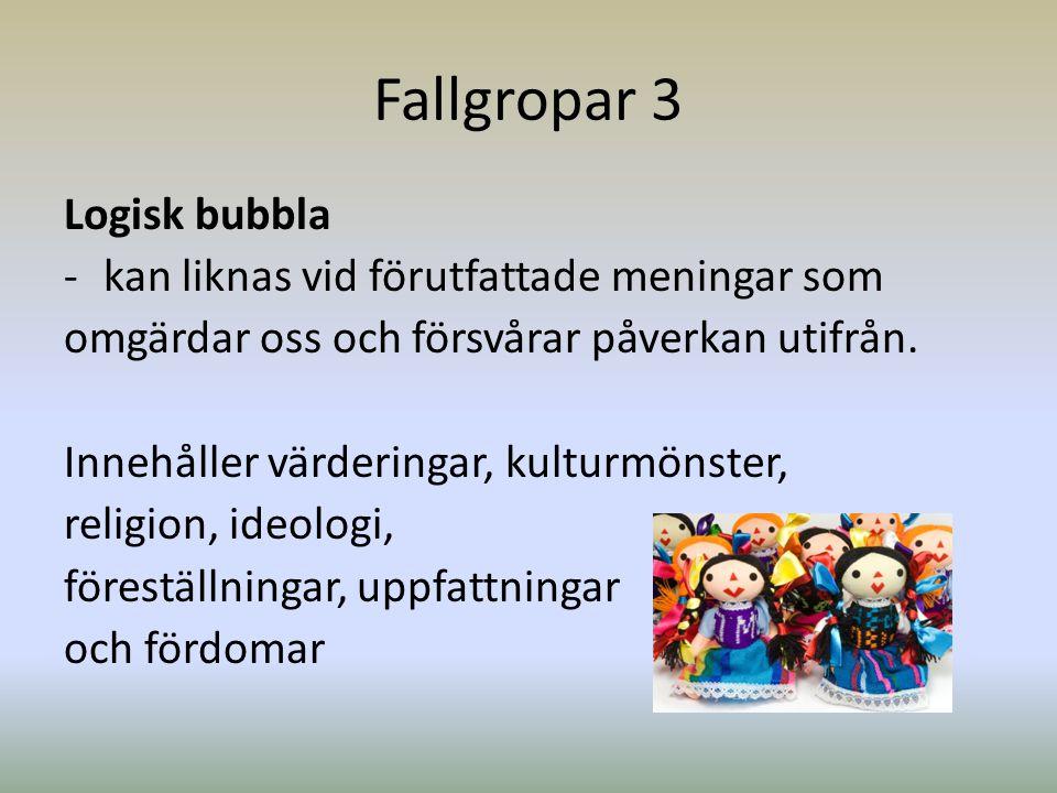 Fallgropar 3 Logisk bubbla -kan liknas vid förutfattade meningar som omgärdar oss och försvårar påverkan utifrån. Innehåller värderingar, kulturmönste