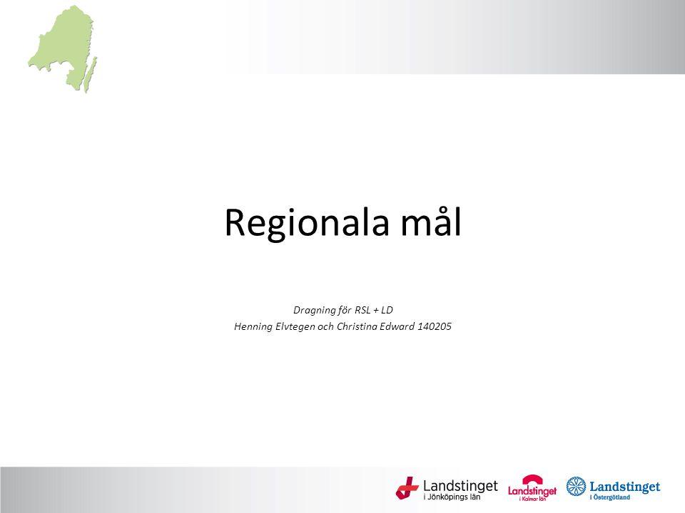 Regionala mål Dragning för RSL + LD Henning Elvtegen och Christina Edward 140205