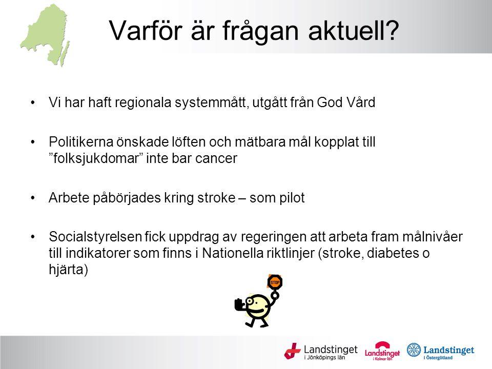 Det pågår ett viktigt arbete med målnivåer på nationell nivå: Socialstyrelsens arbete med målnivåer kopplade till Nationella Riktlinjer Urval: Följande beaktas när indikatorer väljs: a)Åtgärder med hög prioritet i NR (eller icke-göra i NR) b)Målnivåerna har ofta sats efter de tre bästa landstingens resultat = målet är uppnåeligt i Sverige Sannolikt uppfattas målnivåerna som jämförelsevis legitima inom professionen.