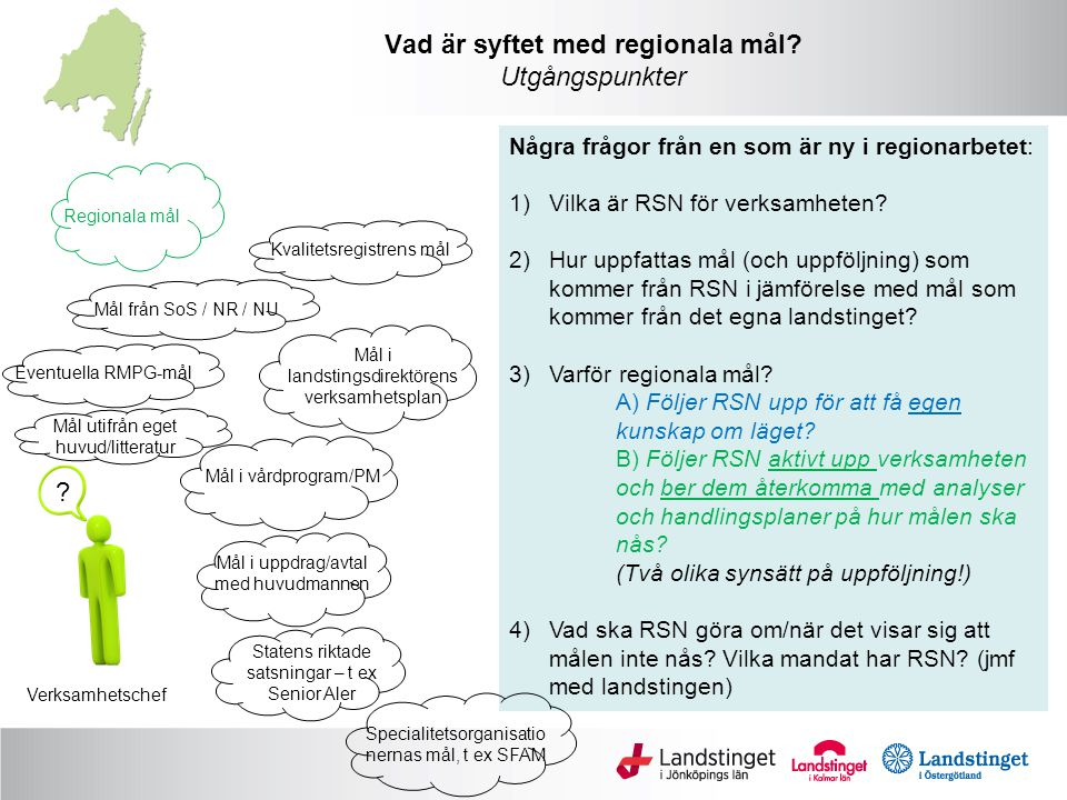Verksamhetschef Mål från SoS / NR / NU Mål utifrån eget huvud/litteratur Mål i landstingsdirektörens verksamhetsplan Mål i uppdrag/avtal med huvudmannen Mål i vårdprogram/PM Regionala mål .