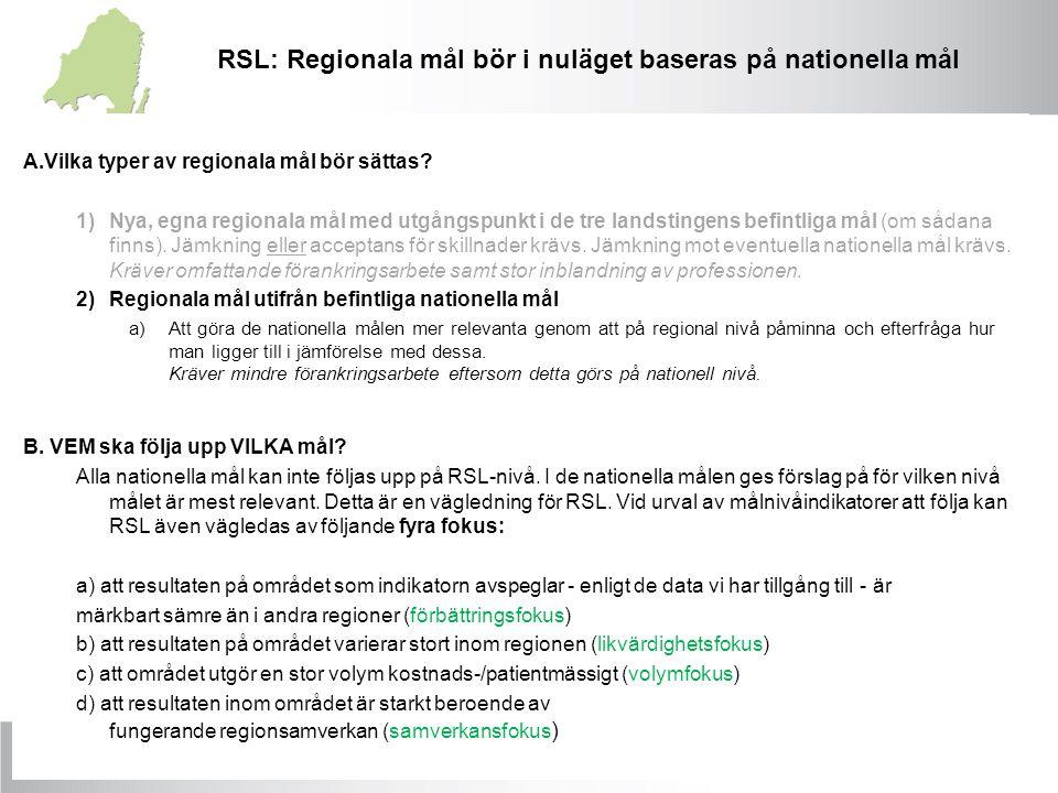 A.Vilka typer av regionala mål bör sättas? 1)Nya, egna regionala mål med utgångspunkt i de tre landstingens befintliga mål (om sådana finns). Jämkning