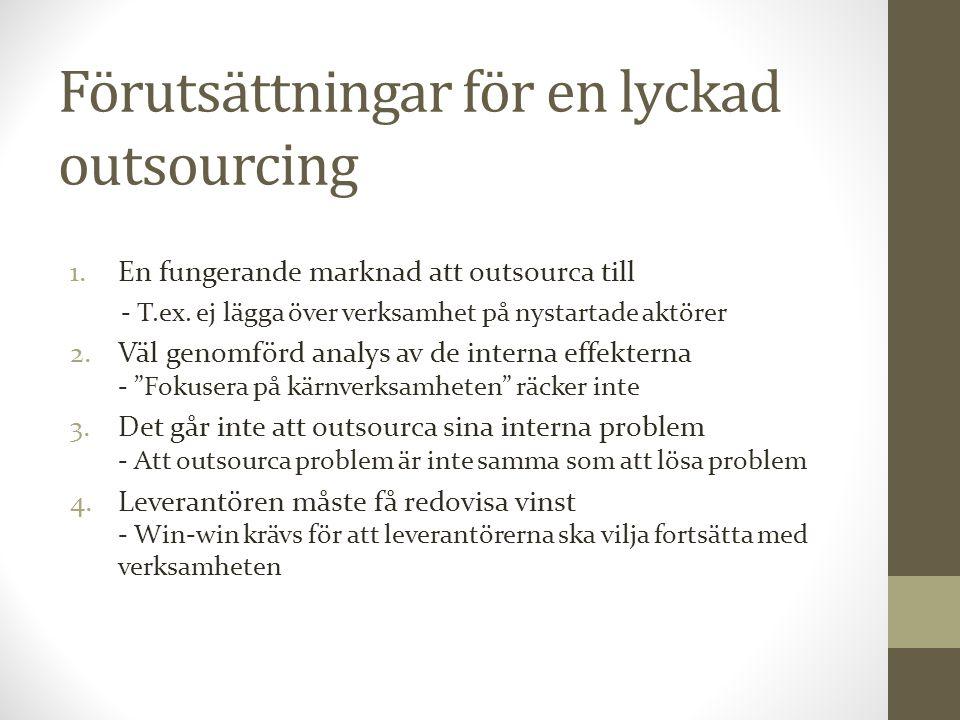 Förutsättningar för en lyckad outsourcing 1.En fungerande marknad att outsourca till - T.ex. ej lägga över verksamhet på nystartade aktörer 2.Väl geno