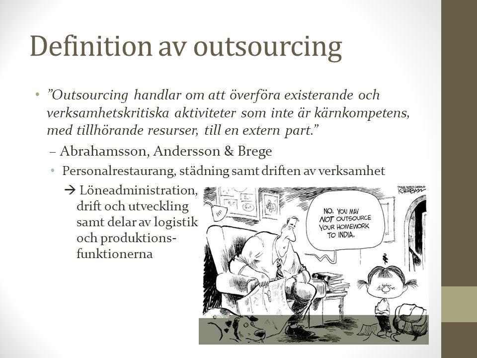 """Definition av outsourcing """"Outsourcing handlar om att överföra existerande och verksamhetskritiska aktiviteter som inte är kärnkompetens, med tillhöra"""