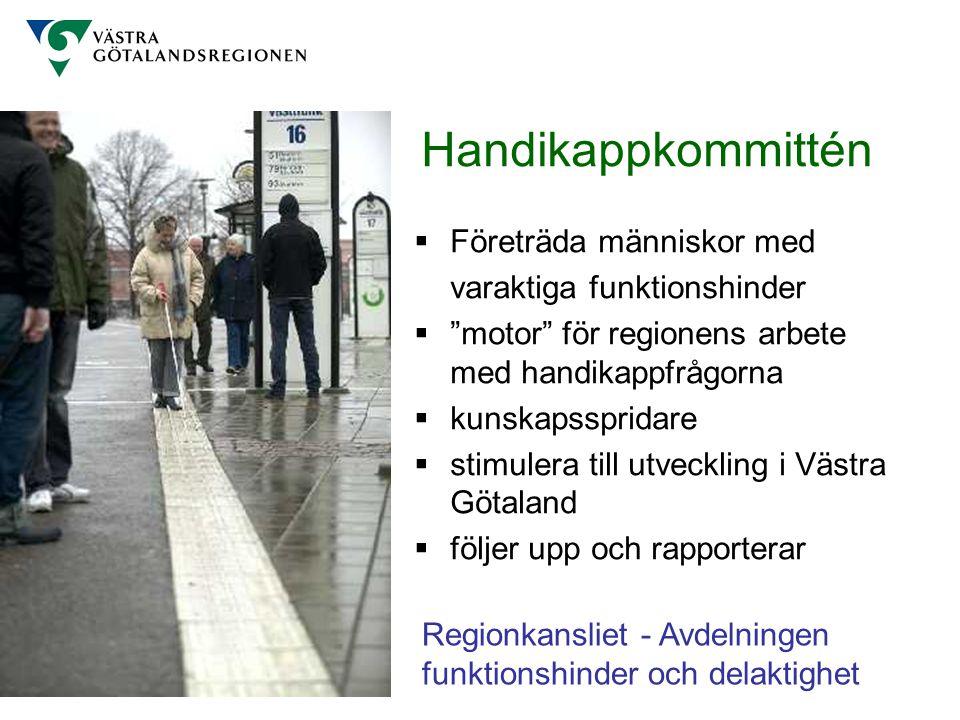 """Handikappkommittén  Företräda människor med varaktiga funktionshinder  """"motor"""" för regionens arbete med handikappfrågorna  kunskapsspridare  stimu"""