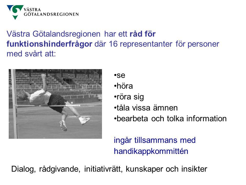 Västra Götalandsregionen har ett råd för funktionshinderfrågor där 16 representanter för personer med svårt att: se höra röra sig tåla vissa ämnen bea