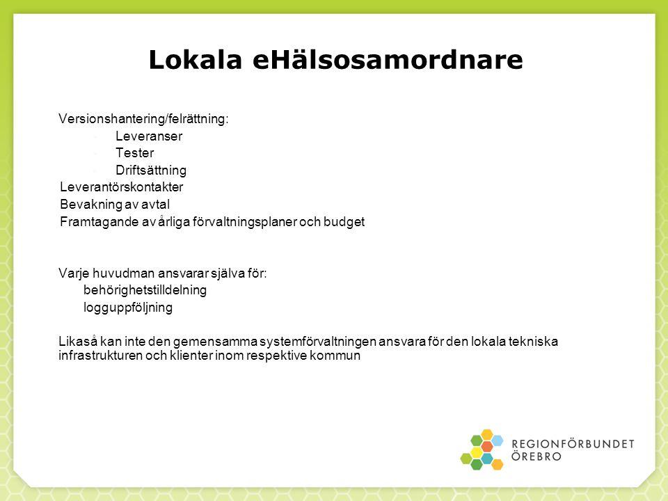 Lokala eHälsosamordnare Versionshantering/felrättning:  Leveranser  Tester  Driftsättning Leverantörskontakter Bevakning av avtal Framtagande av år