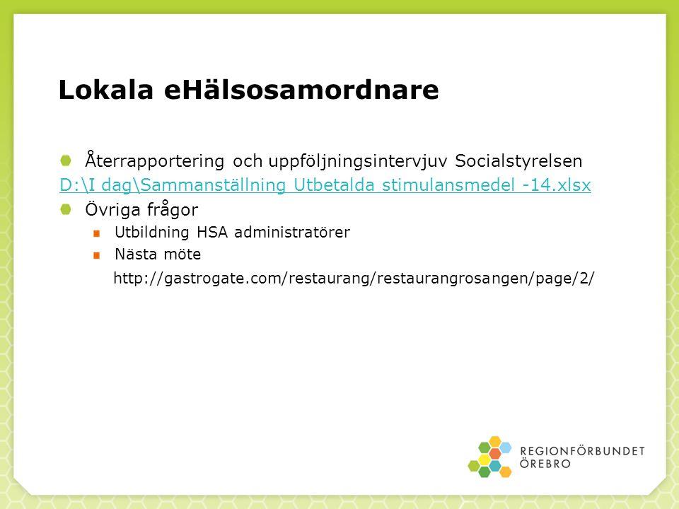Lokala eHälsosamordnare Återrapportering och uppföljningsintervjuv Socialstyrelsen D:\I dag\Sammanställning Utbetalda stimulansmedel -14.xlsx Övriga f