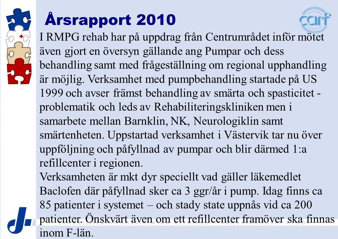 Årsrapport 2010 I RMPG rehab har på uppdrag från Centrumrådet inför mötet även gjort en översyn gällande ang Pumpar och dess behandling samt med frågeställning om regional upphandling är möjlig.
