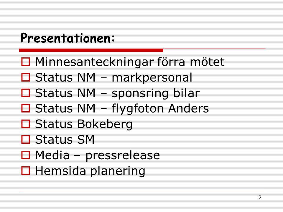 2 Presentationen:  Minnesanteckningar förra mötet  Status NM – markpersonal  Status NM – sponsring bilar  Status NM – flygfoton Anders  Status Bokeberg  Status SM  Media – pressrelease  Hemsida planering