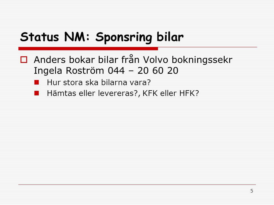 5 Status NM: Sponsring bilar  Anders bokar bilar från Volvo bokningssekr Ingela Roström 044 – 20 60 20 Hur stora ska bilarna vara.