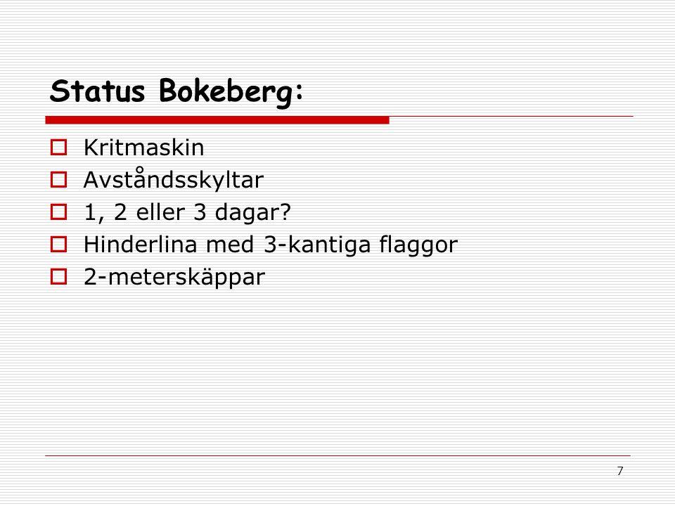 7 Status Bokeberg:  Kritmaskin  Avståndsskyltar  1, 2 eller 3 dagar.