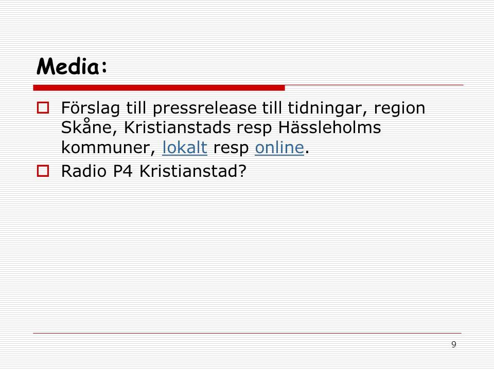 9 Media:  Förslag till pressrelease till tidningar, region Skåne, Kristianstads resp Hässleholms kommuner, lokalt resp online.lokaltonline  Radio P4 Kristianstad?