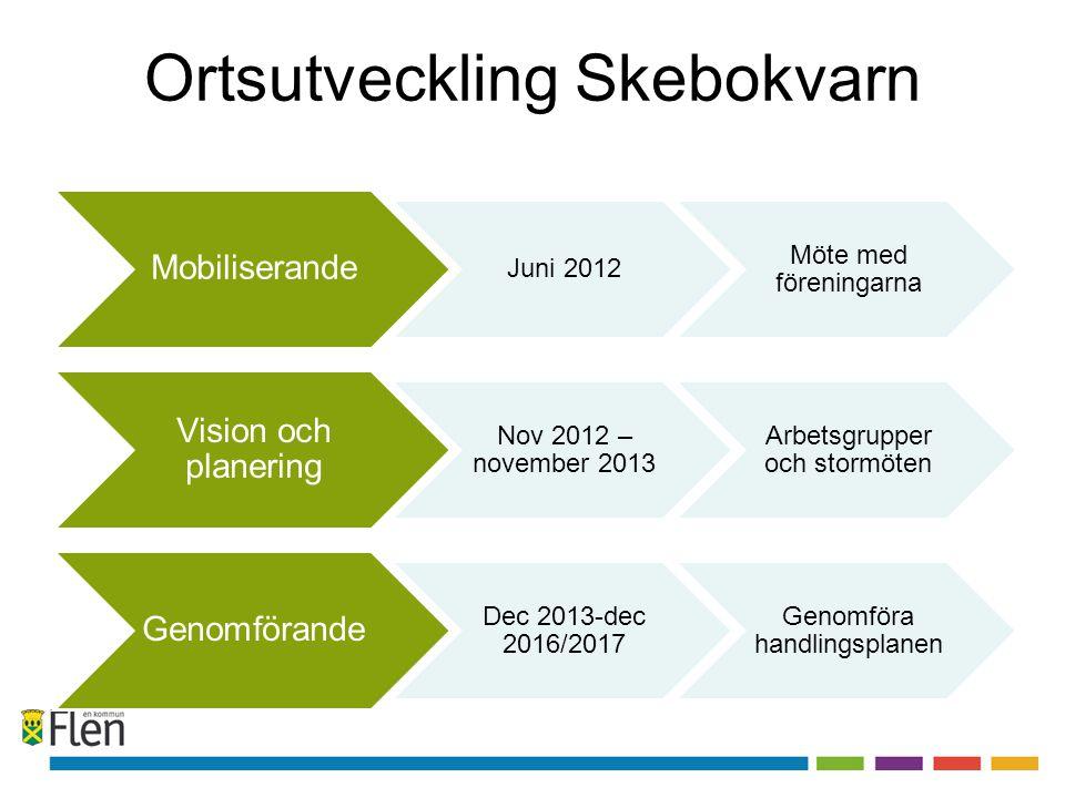 Ortsutveckling Skebokvarn Mobiliserande Juni 2012 Möte med föreningarna Vision och planering Nov 2012 – november 2013 Arbetsgrupper och stormöten Geno