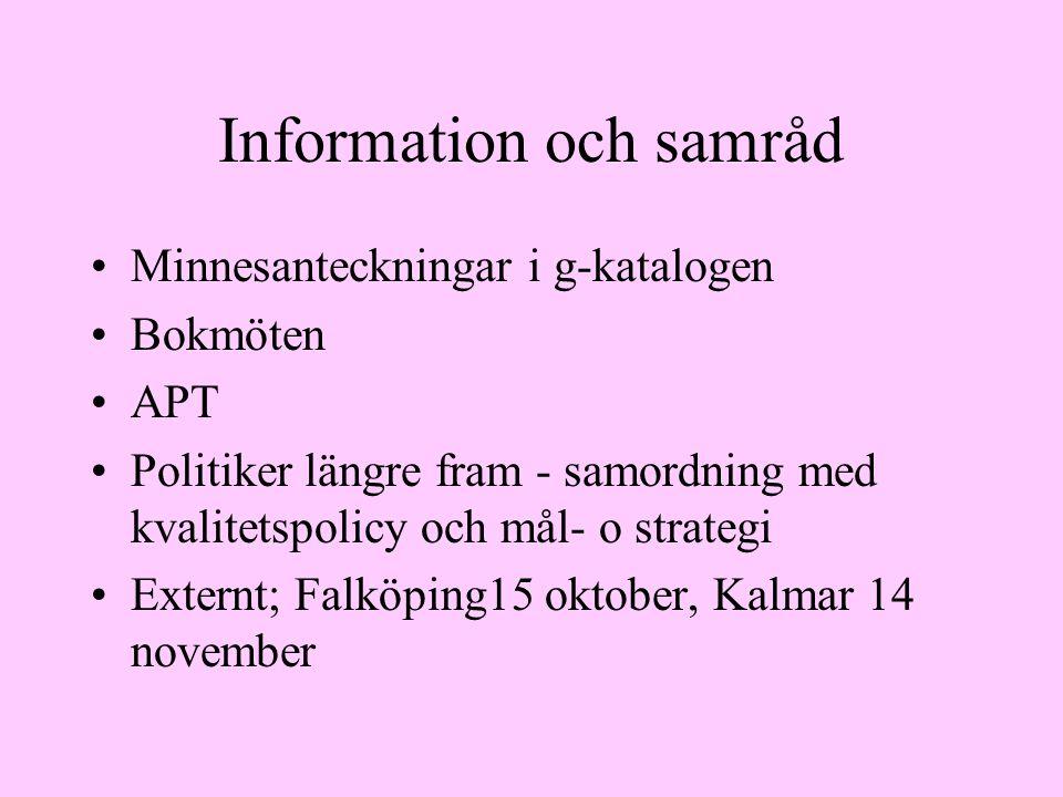 Information och samråd Minnesanteckningar i g-katalogen Bokmöten APT Politiker längre fram - samordning med kvalitetspolicy och mål- o strategi Externt; Falköping15 oktober, Kalmar 14 november