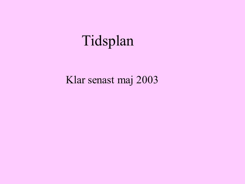 Tidsplan Klar senast maj 2003