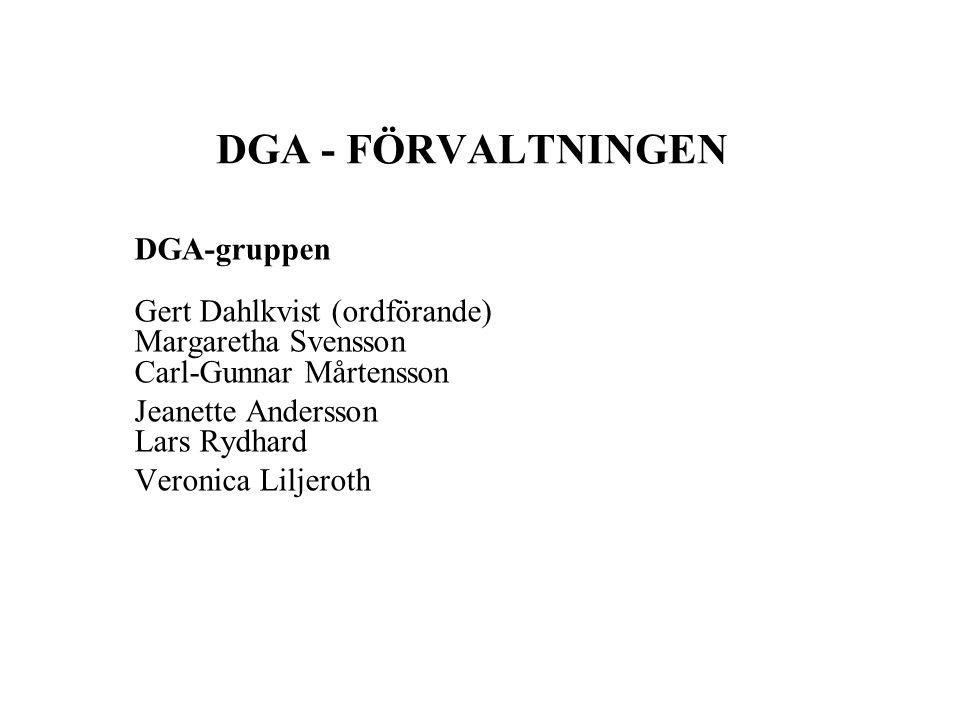 DGA - FÖRVALTNINGEN DGA-gruppen Gert Dahlkvist (ordförande) Margaretha Svensson Carl-Gunnar Mårtensson Jeanette Andersson Lars Rydhard Veronica Liljeroth
