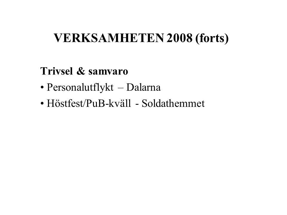 VERKSAMHETEN 2008 (forts) Trivsel & samvaro Personalutflykt – Dalarna Höstfest/PuB-kväll - Soldathemmet