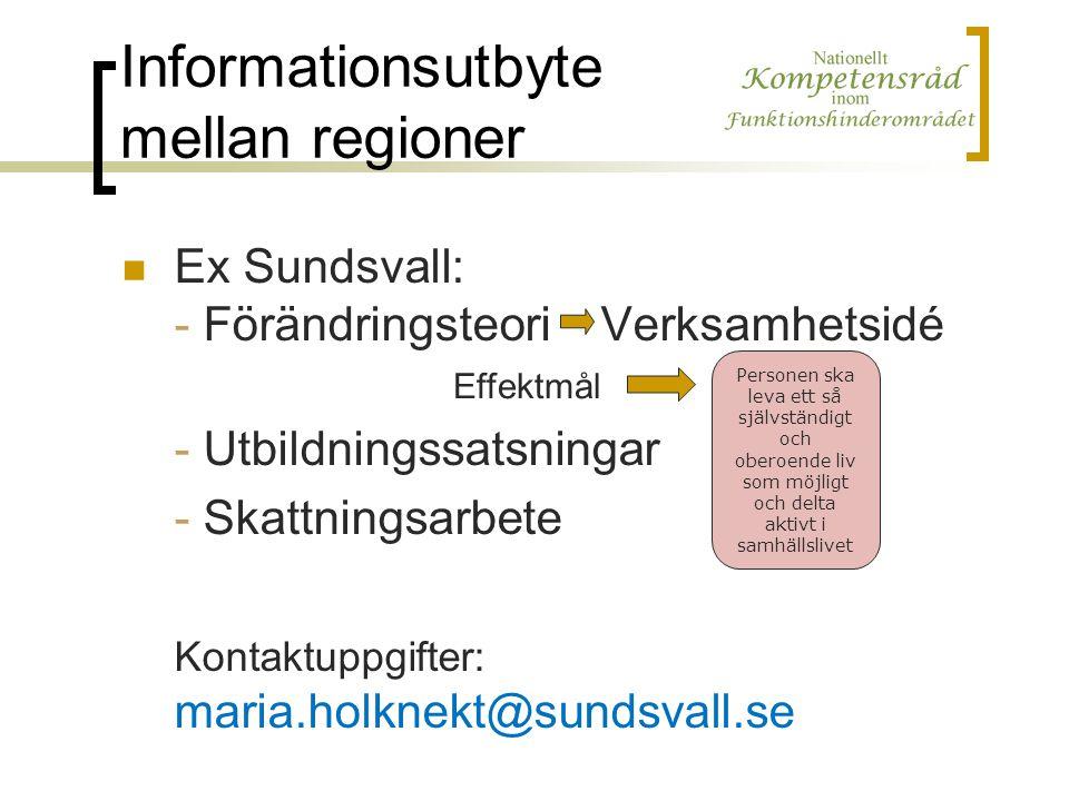Informationsutbyte mellan regioner Ex Sundsvall: - Förändringsteori Verksamhetsidé - Utbildningssatsningar - Skattningsarbete Kontaktuppgifter: maria.holknekt@sundsvall.se Personen ska leva ett så självständigt och oberoende liv som möjligt och delta aktivt i samhällslivet Effektmål