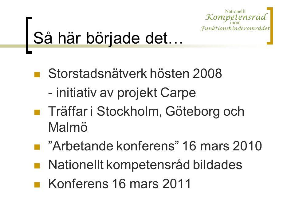 Så här började det… Storstadsnätverk hösten 2008 - initiativ av projekt Carpe Träffar i Stockholm, Göteborg och Malmö Arbetande konferens 16 mars 2010 Nationellt kompetensråd bildades Konferens 16 mars 2011