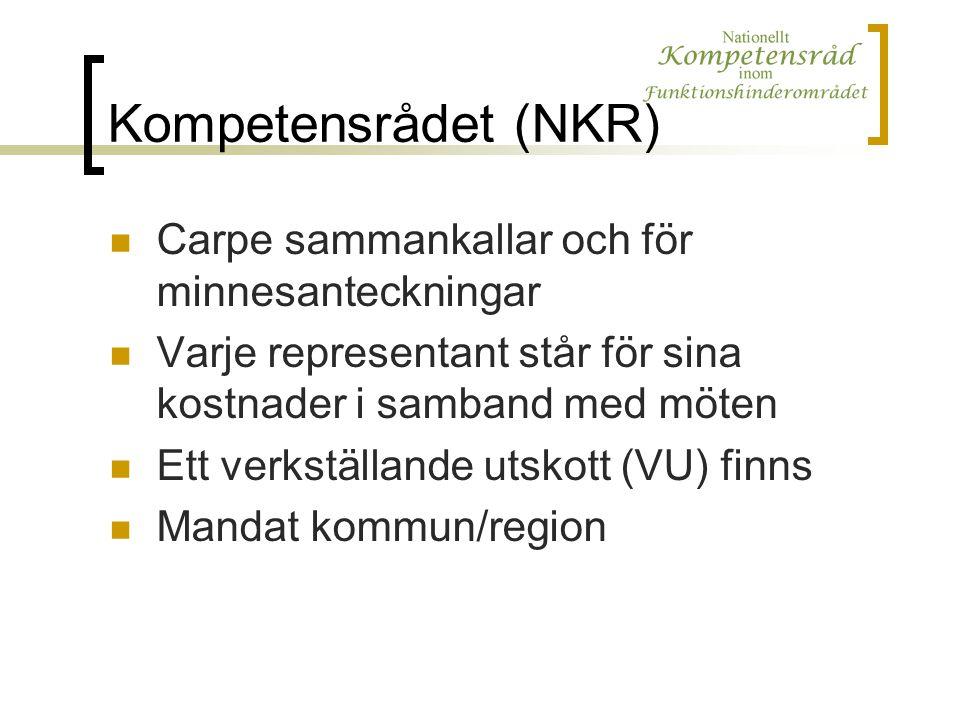 Kompetensrådet (NKR) Carpe sammankallar och för minnesanteckningar Varje representant står för sina kostnader i samband med möten Ett verkställande utskott (VU) finns Mandat kommun/region