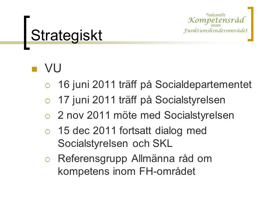 Strategiskt VU  16 juni 2011 träff på Socialdepartementet  17 juni 2011 träff på Socialstyrelsen  2 nov 2011 möte med Socialstyrelsen  15 dec 2011