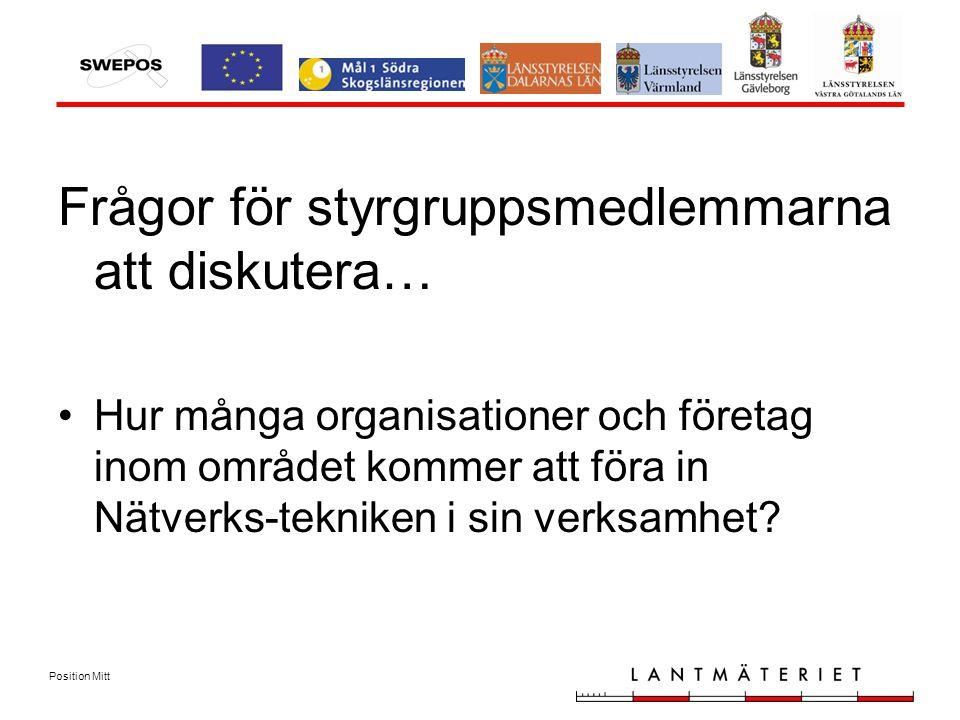 Position Mitt Frågor för styrgruppsmedlemmarna att diskutera… Hur många organisationer och företag inom området kommer att föra in Nätverks-tekniken i sin verksamhet