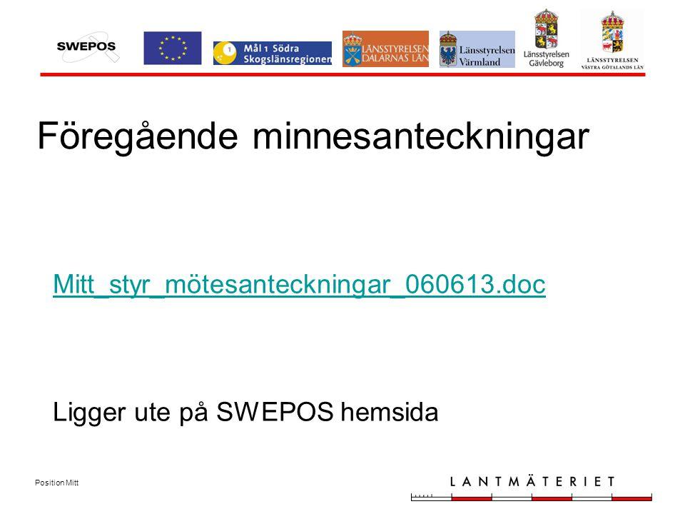Position Mitt Föregående minnesanteckningar Mitt_styr_mötesanteckningar_060613.doc Mitt_styr_mötesanteckningar_060613.doc Ligger ute på SWEPOS hemsida