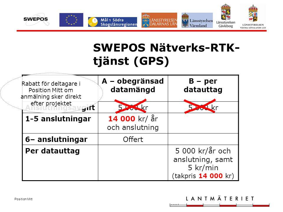 Position Mitt SWEPOS Nätverks-RTK- tjänst (GPS) A – obegränsad datamängd B – per datauttag Anslutningsavgift5 000 kr 1-5 anslutningar14 000 kr/ år och anslutning 6– anslutningarOffert Per datauttag5 000 kr/år och anslutning, samt 5 kr/min (takpris 14 000 kr) Rabatt för deltagare i Position Mitt om anmälning sker direkt efter projektet