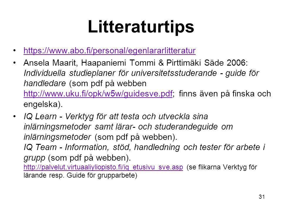 31 Litteraturtips https://www.abo.fi/personal/egenlararlitteratur Ansela Maarit, Haapaniemi Tommi & Pirttimäki Säde 2006: Individuella studieplaner för universitetsstuderande - guide för handledare (som pdf på webben http://www.uku.fi/opk/w5w/guidesve.pdf; finns även på finska och engelska).