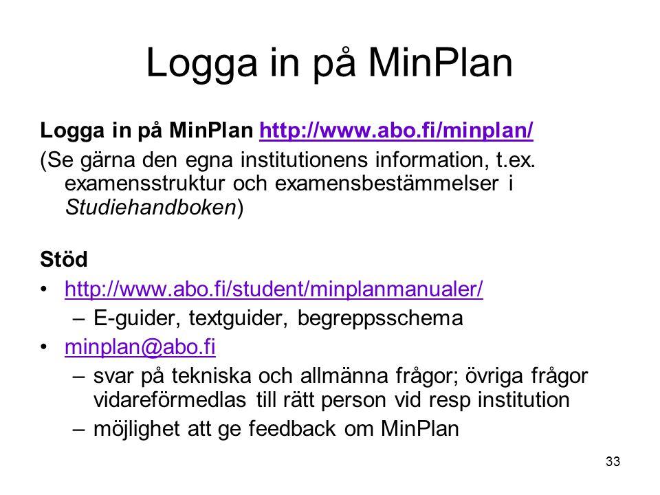 33 Logga in på MinPlan Logga in på MinPlan http://www.abo.fi/minplan/http://www.abo.fi/minplan/ (Se gärna den egna institutionens information, t.ex.