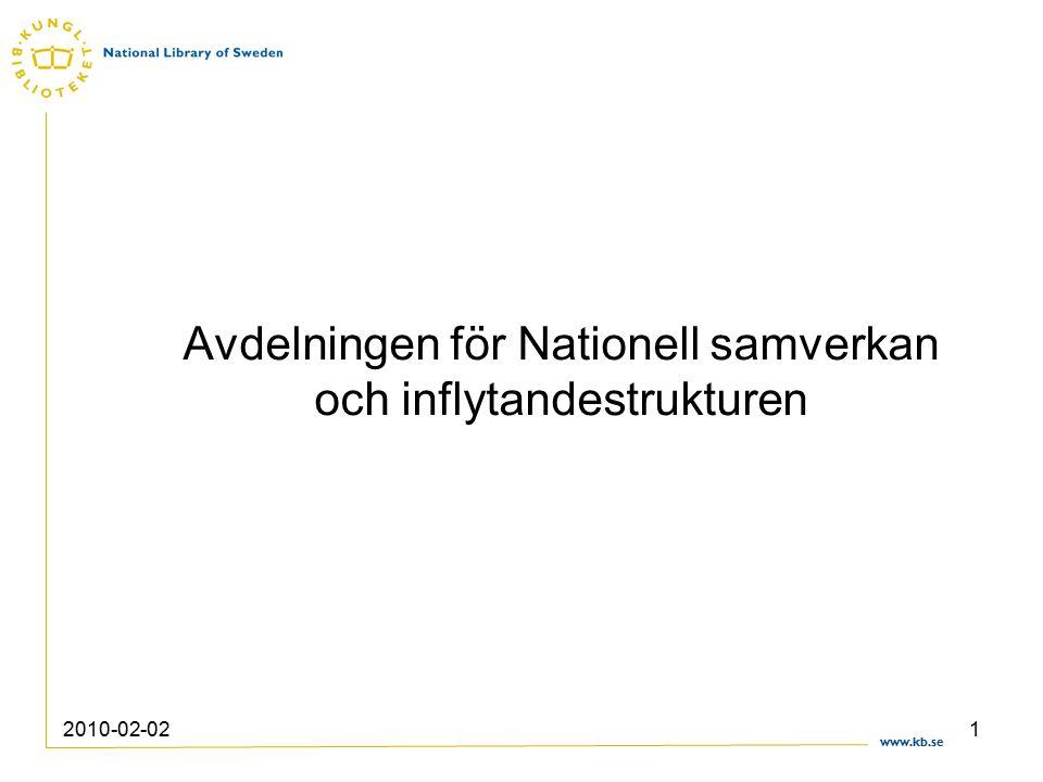 www.kb.se 2010-02-021 Avdelningen för Nationell samverkan och inflytandestrukturen