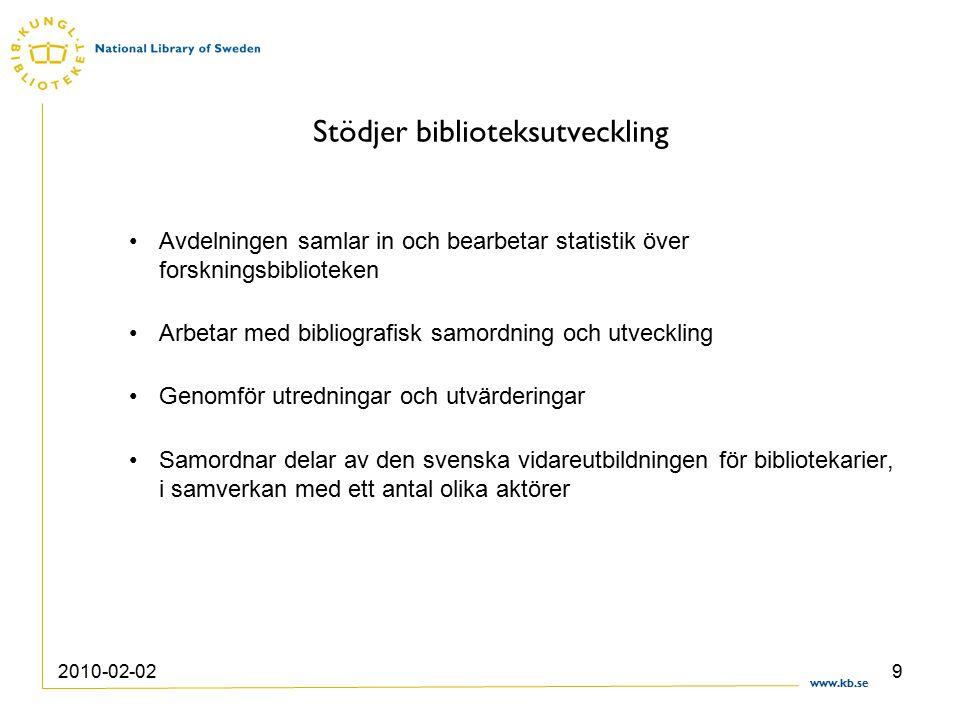 www.kb.se 2010-02-029 Stödjer biblioteksutveckling Avdelningen samlar in och bearbetar statistik över forskningsbiblioteken Arbetar med bibliografisk samordning och utveckling Genomför utredningar och utvärderingar Samordnar delar av den svenska vidareutbildningen för bibliotekarier, i samverkan med ett antal olika aktörer