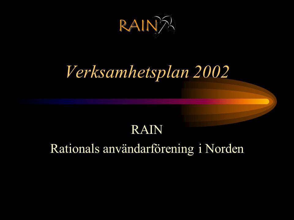 RAIN Planeringspunkter Styrelsemöte varje månad 4 st Gruppmöten om olika teman 1 Konferens heldag med årsmöte Web-Forum Web-Kontakt Web-Portal Medlemsvärvning