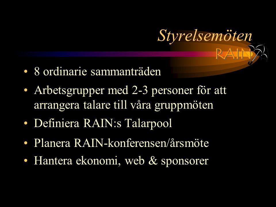 RAIN Styrelsemöten 8 ordinarie sammanträden Arbetsgrupper med 2-3 personer för att arrangera talare till våra gruppmöten Definiera RAIN:s Talarpool Planera RAIN-konferensen/årsmöte Hantera ekonomi, web & sponsorer