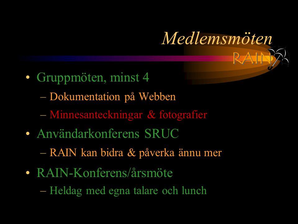 RAIN Medlemsmöten Gruppmöten, minst 4 –Dokumentation på Webben –Minnesanteckningar & fotografier Användarkonferens SRUC –RAIN kan bidra & påverka ännu mer RAIN-Konferens/årsmöte –Heldag med egna talare och lunch