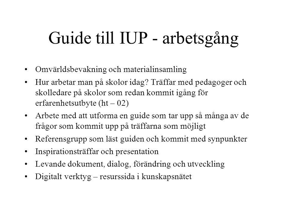 Guide till IUP - arbetsgång Omvärldsbevakning och materialinsamling Hur arbetar man på skolor idag? Träffar med pedagoger och skolledare på skolor som