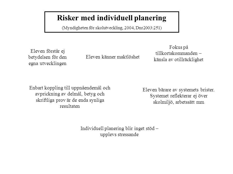 Läroplanernas & kursplanernas strävansmål (1) Arbetslagets & pedagogernas planering (2) Elevens mål (3) Utvärdering av elevens arbete (4) Utvecklingssamtal (5) IUP (6) Arbetsgång IUP Konsekvenser för arbetet.