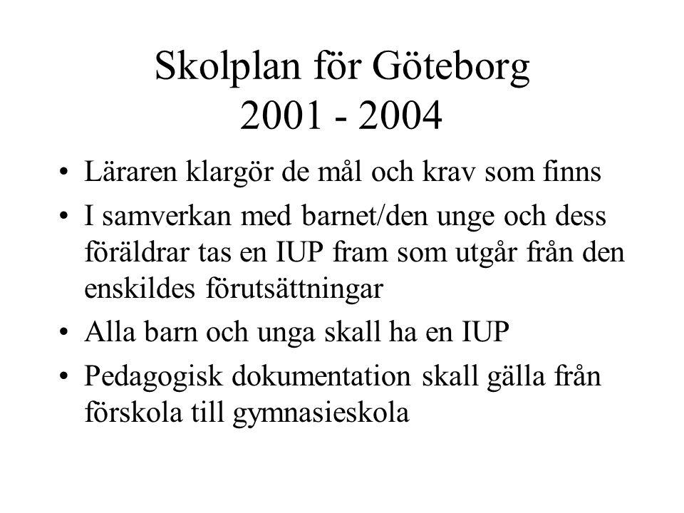 Skolplan för Göteborg 2001 - 2004 Läraren klargör de mål och krav som finns I samverkan med barnet/den unge och dess föräldrar tas en IUP fram som utg
