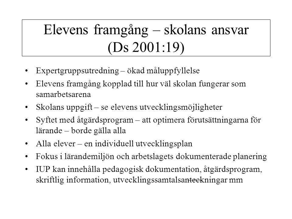 Elevens framgång – skolans ansvar (Ds 2001:19) Expertgruppsutredning – ökad måluppfyllelse Elevens framgång kopplad till hur väl skolan fungerar som s