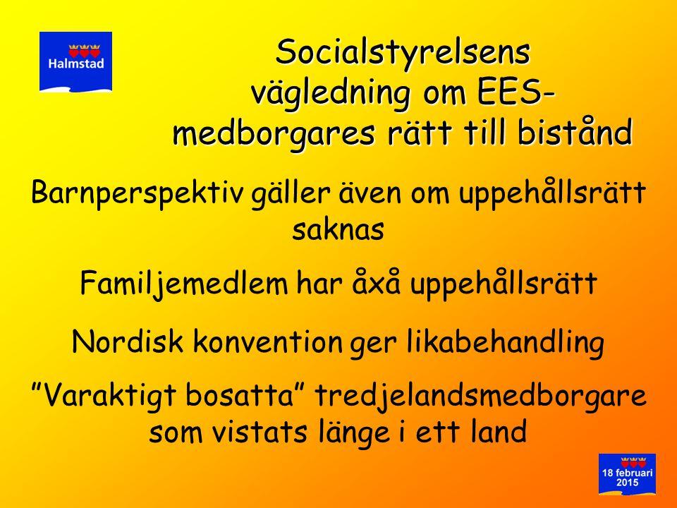 Barnperspektiv gäller även om uppehållsrätt saknas Socialstyrelsens vägledning om EES- medborgares rätt till bistånd Familjemedlem har åxå uppehållsrä