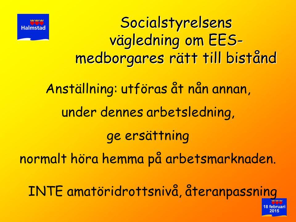 Anställning: utföras åt nån annan, Socialstyrelsens vägledning om EES- medborgares rätt till bistånd ge ersättning under dennes arbetsledning, normalt