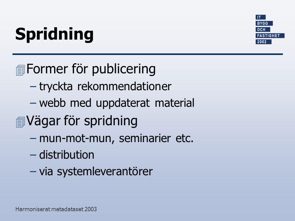 Harmoniserat metadataset 2003 Spridning 4 Former för publicering –tryckta rekommendationer –webb med uppdaterat material 4 Vägar för spridning –mun-mot-mun, seminarier etc.