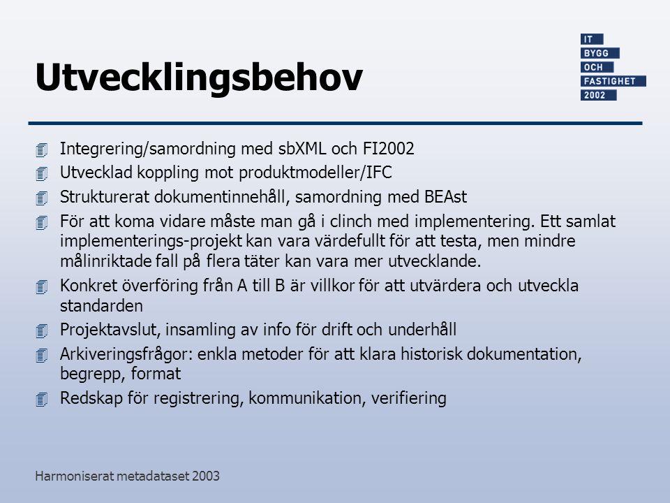 Harmoniserat metadataset 2003 Utvecklingsbehov 4 Integrering/samordning med sbXML och FI2002 4 Utvecklad koppling mot produktmodeller/IFC 4 Strukturerat dokumentinnehåll, samordning med BEAst 4 För att koma vidare måste man gå i clinch med implementering.