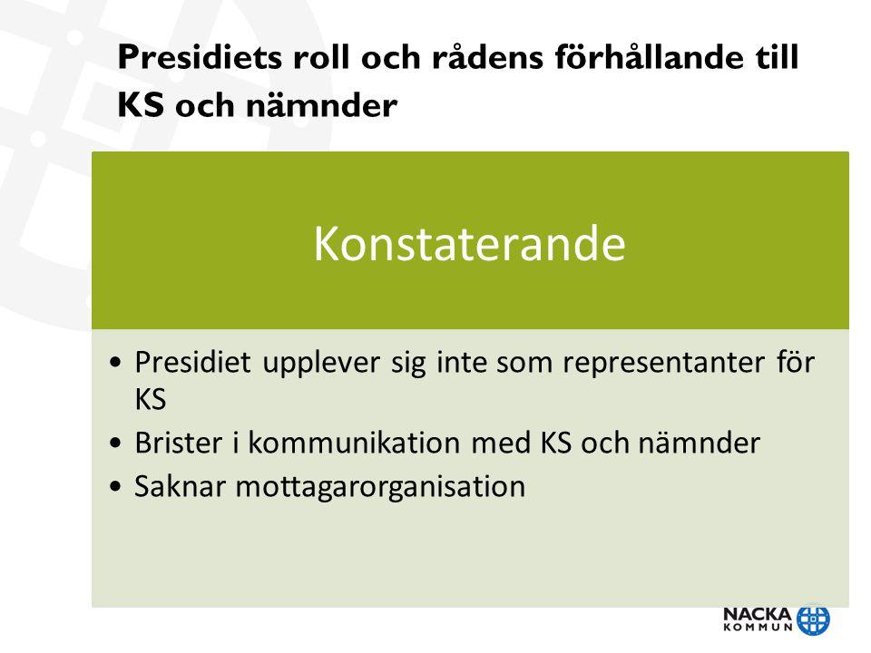 Presidiets roll och rådens förhållande till KS och nämnder Konstaterande Presidiet upplever sig inte som representanter för KS Brister i kommunikation med KS och nämnder Saknar mottagarorganisation