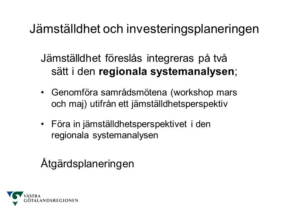 Jämställdhet föreslås integreras på två sätt i den regionala systemanalysen; Genomföra samrådsmötena (workshop mars och maj) utifrån ett jämställdhetsperspektiv Föra in jämställdhetsperspektivet i den regionala systemanalysen Åtgärdsplaneringen Jämställdhet och investeringsplaneringen