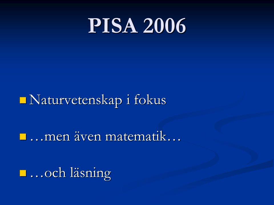 PISA 2006 Naturvetenskap i fokus Naturvetenskap i fokus …men även matematik… …men även matematik… …och läsning …och läsning