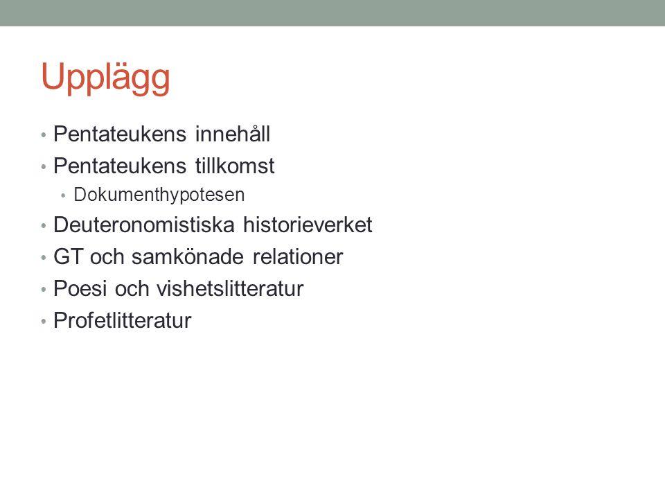 Pentateukens tillkomst Fyrkällshypotesen, dokumenthypotesen J: Jahvisten E: Elohisten D: Deuteronomisten P: Prästskriften Julius Wellhausen (1844 –1918)
